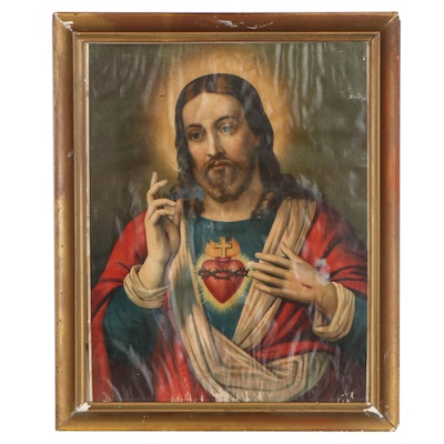 Chromolithograph of Sacred Heart Jesus, Early 20th Century