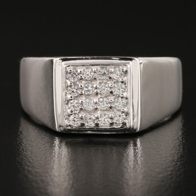 Sterling White Zircon Cluster Ring with High Polish Finish