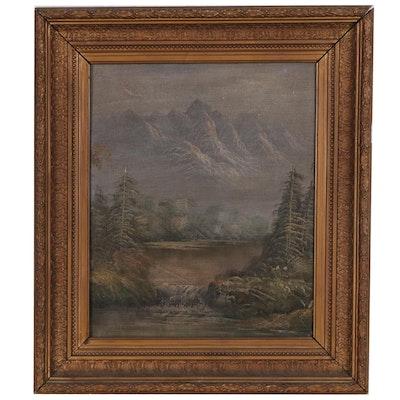 Mountain Landscape Oil Painting, Circa 1900