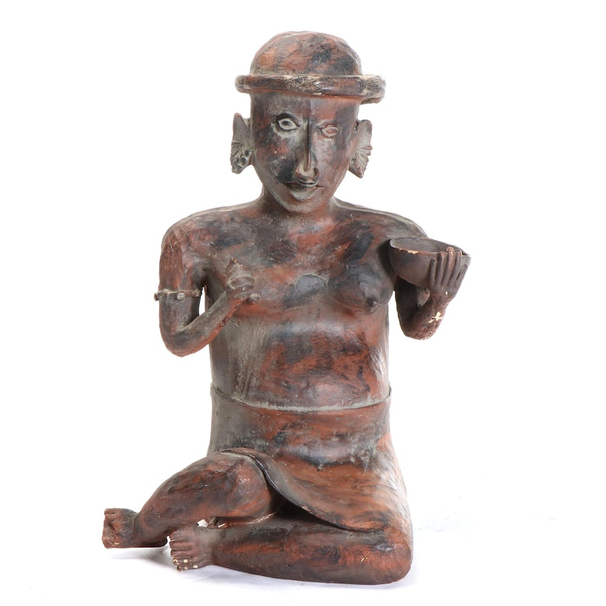 Nayarit Style Ceramic Figure of Woman With Bowl