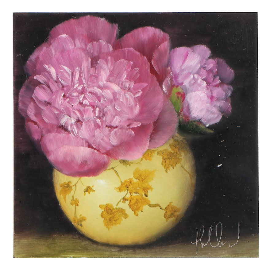 """Thu-Thuy Tran Oil Painting """"Summer Pink Peonies"""""""