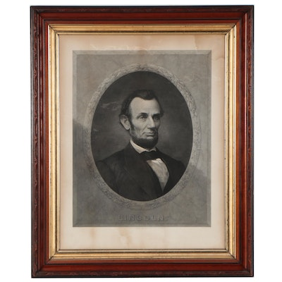 """Henry Gugler Engraving """"Lincoln,"""" Late 19th Century"""