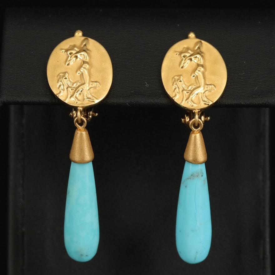 Tagliamonte 18K Turquoise Drop Clip Earrings