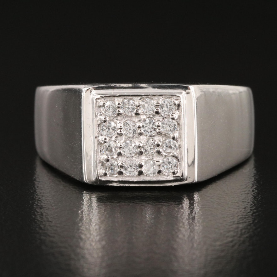 Sterling Silver White Zircon Ring