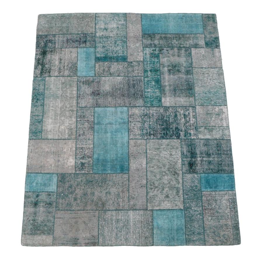 6'9 x 8'4 Handmade Overdyed Patchwork Area Rug