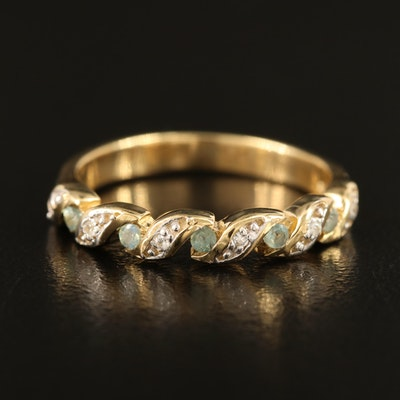 Sterling Alexandrite and Zircon Fluted Band