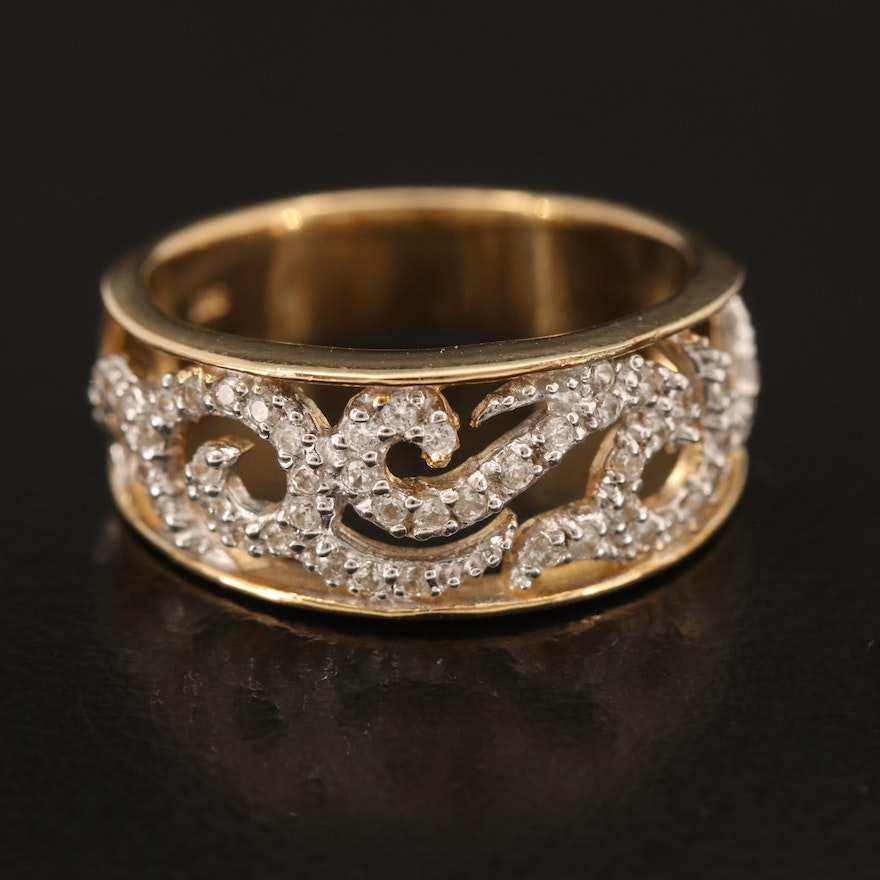 Sterling White Zircon Openwork and Scrollwork Ring