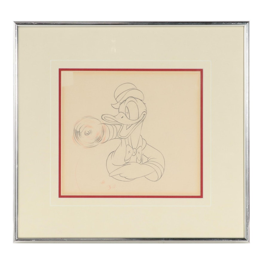 """Disney Graphite Animation Drawing of Donald Duck """"Modern Inventions"""""""