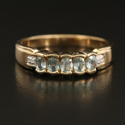 Sterling Alexandrite and Zircon Ring with Half Bezel Setting