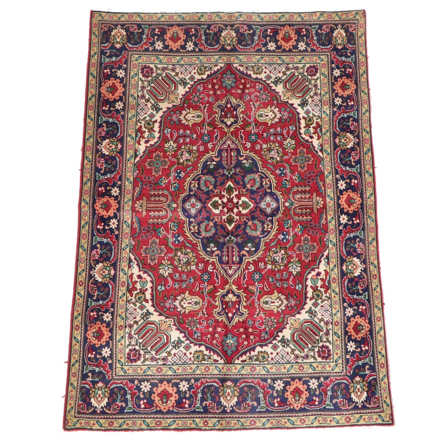 4'8 x 6'7 Hand-Knotted Persian Tabriz Area Rug