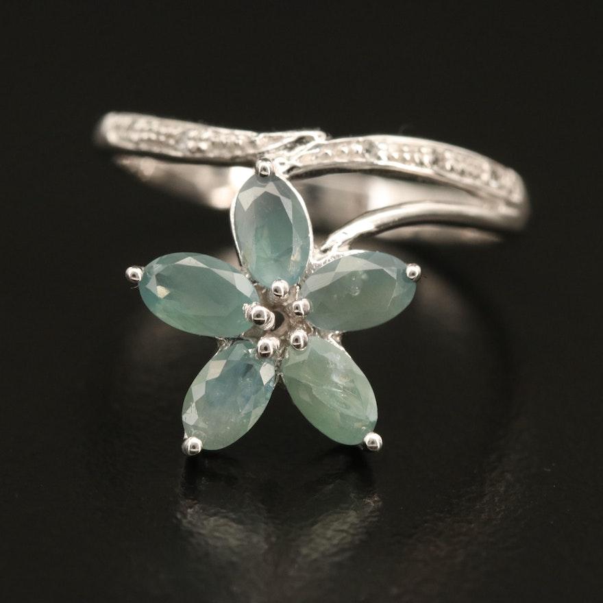 Sterling Alexandrite Flower Ring