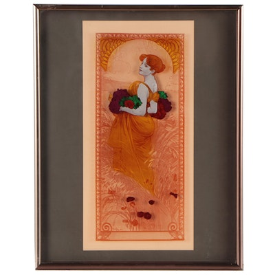 """Offset Lithograph on Glass After Alphonse Mucha """"Summer,"""" Late 20th Century"""