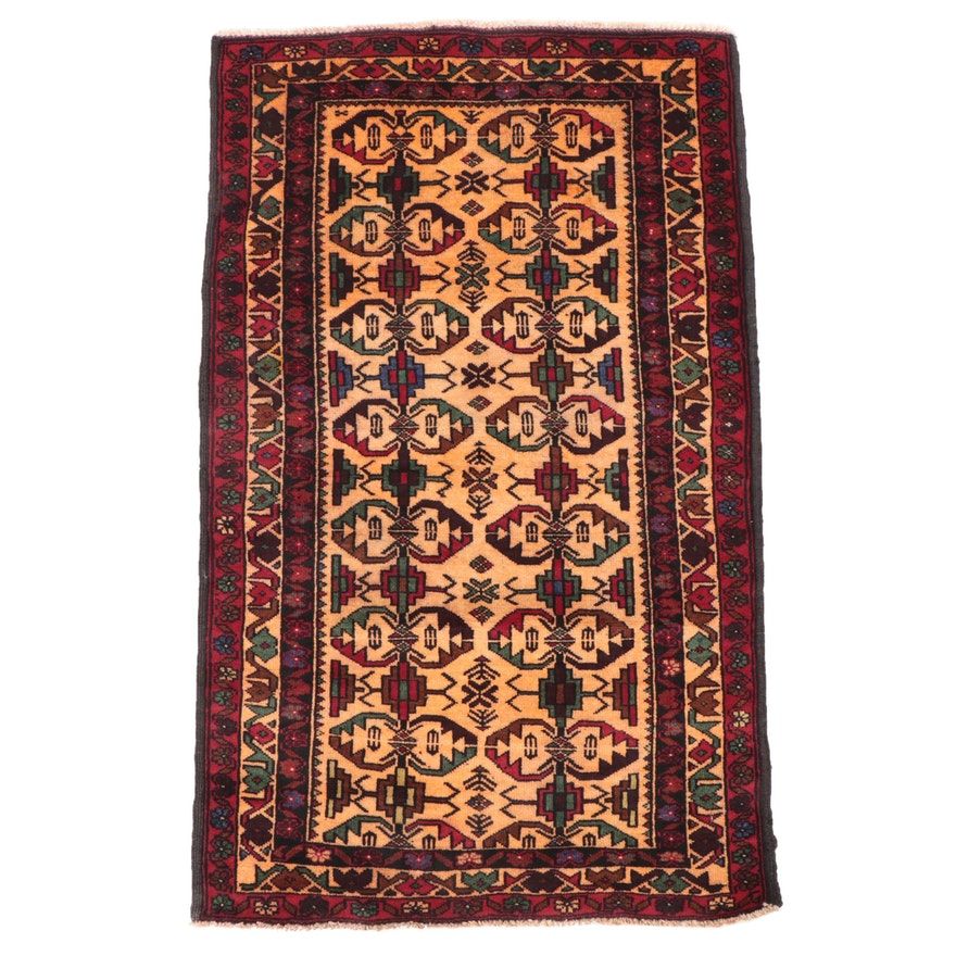2'6 x 4'2 Hand-Knotted Persian Afshar Accent Rug