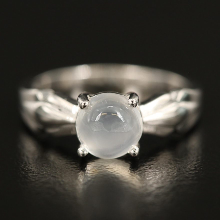 Sterling Cat's Eye Moonstone Solitaire Ring
