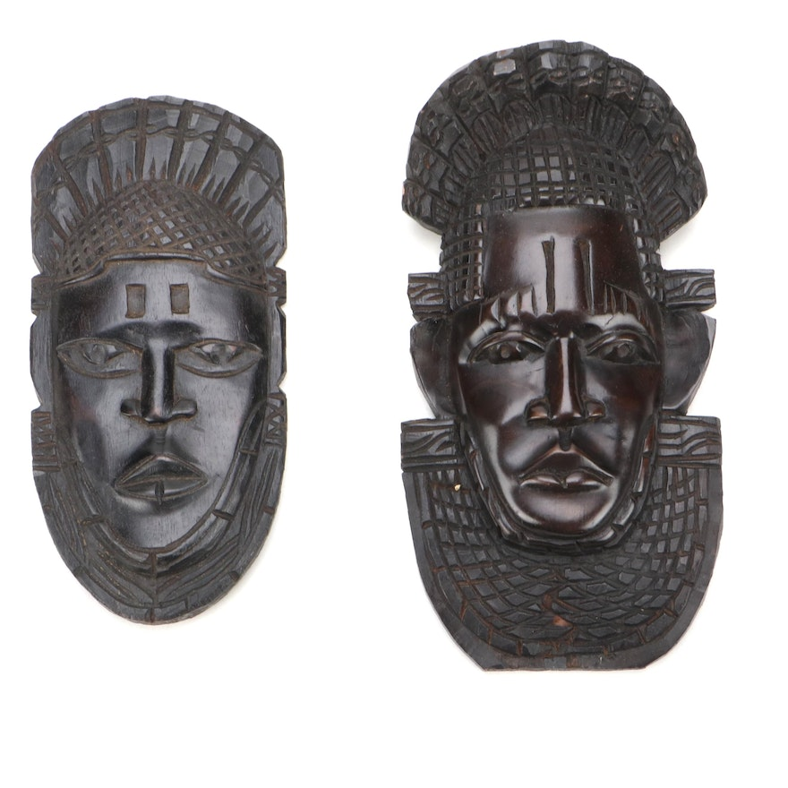 Benin Inspired Carved Wood Wall Hangings