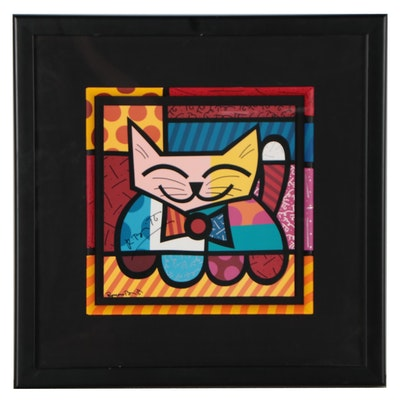 Romero Britto Offset Lithograph of Cat