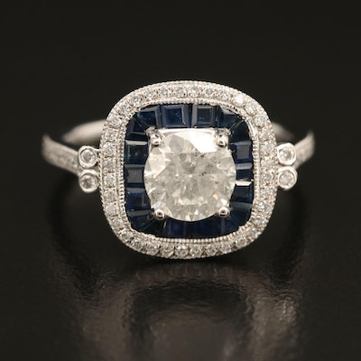 Platinum 1.27 CTW Diamond and Sapphire Ring with Double Halo