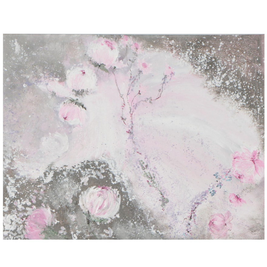 Laurence Amélie Oil Painting of Flowers, 21st Century