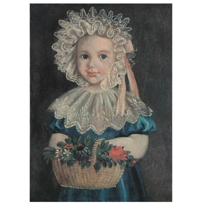 """Offset Lithograph After """"Little Girl With Flower Basket,"""" Late 20th Century"""