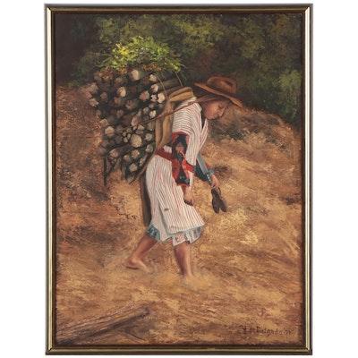 Latin American Oil Painting of Farmer, 1977