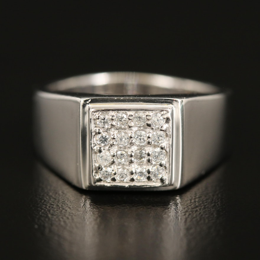 Sterling Zircon Square Cluster Ring