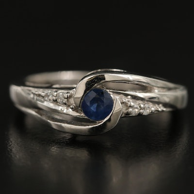 Sterling Silver Sapphire and White Zircon Ring