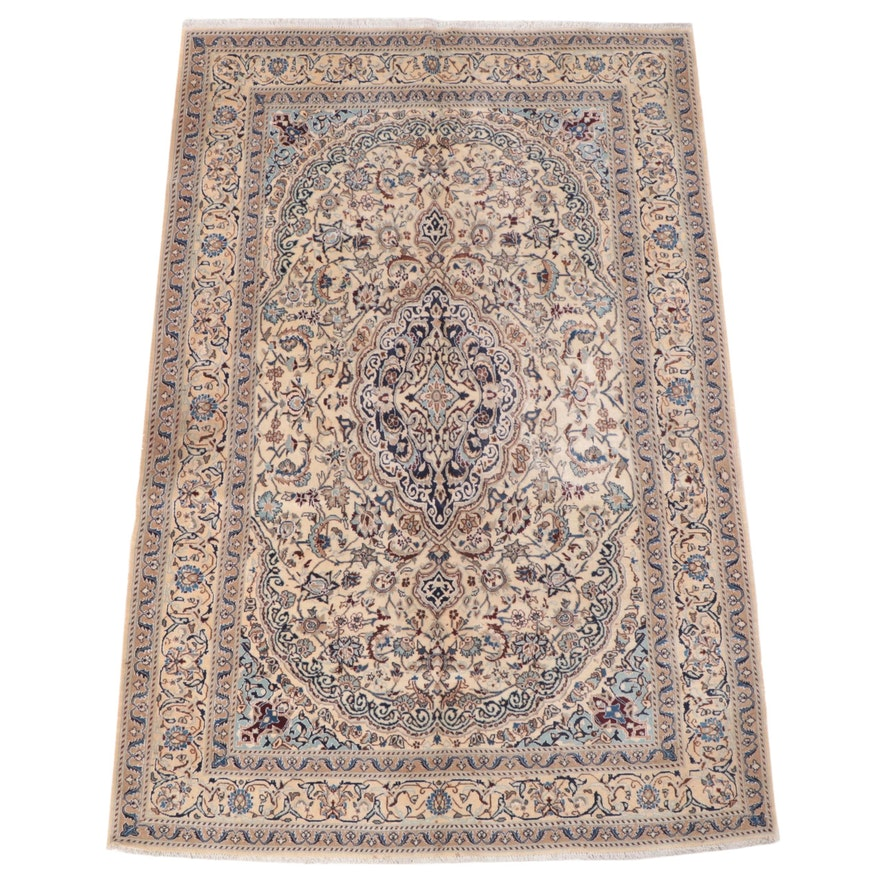 6'4 x 9'5 Hand-Knotted Persian Nain Area Rug