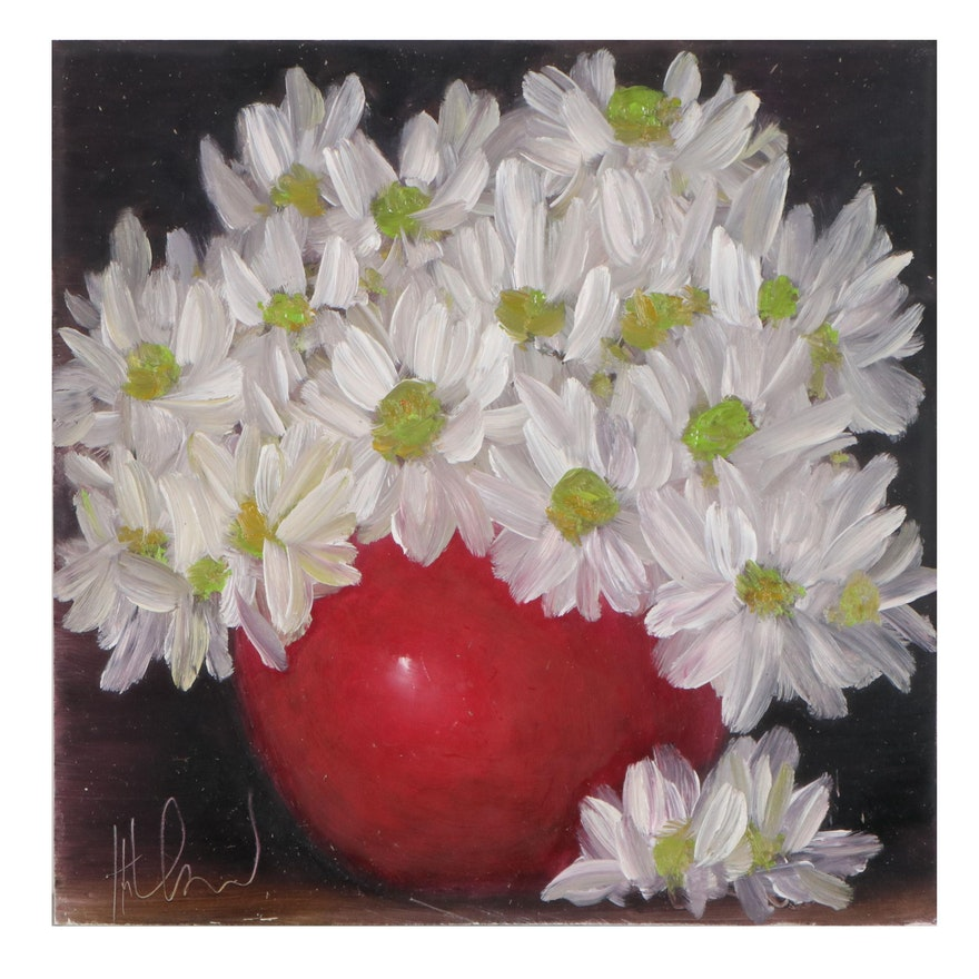 """Thu-Thuy Tran Oil Painting """"Summer Daisies,"""" 2021"""