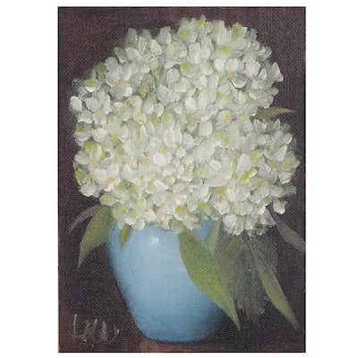 """Thu-Thuy Tran Oil Painting """"Hydrangeas and Blue Vase"""""""