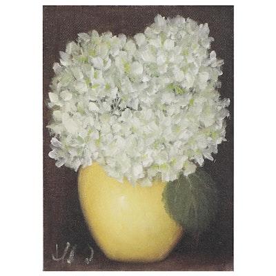 "Thu-Thuy Tran Oil Painting ""White Hydrangeas in Yellow Vase"""
