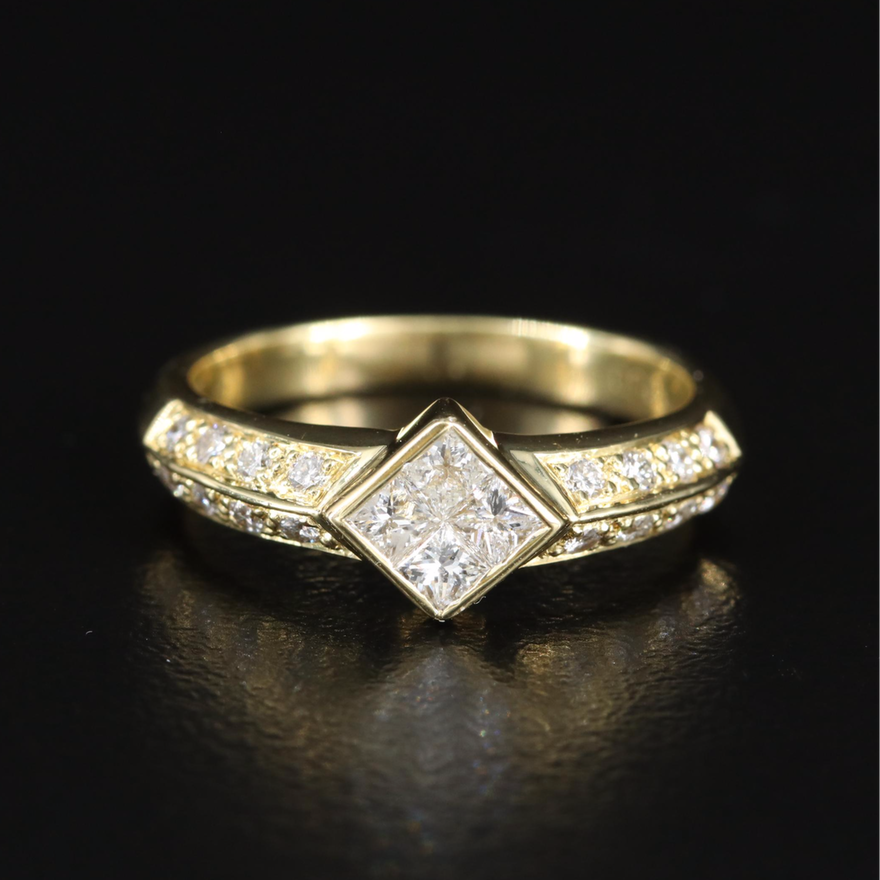 18K Diamond Ring with Double Row Shoulders