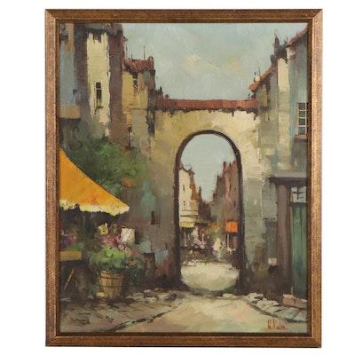Harry Koolen Street Scene Oil Painting, Early to Mid-20th Century