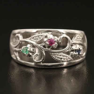Sterling Sapphire, Ruby and Emerald Floral Openwork Ring