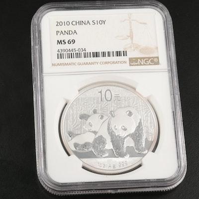 NGC Graded MS69 2010 China 10-Yuan Fine Silver Panda Bullion Coin
