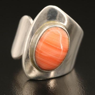 Sterling Faux Rhodochrosite Asymmetrical Ring