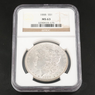 NGC Graded MS63 1888 Morgan Silver Dollar