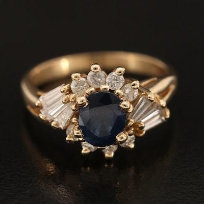 14K 1.02 CT Sapphire and Diamond Ring