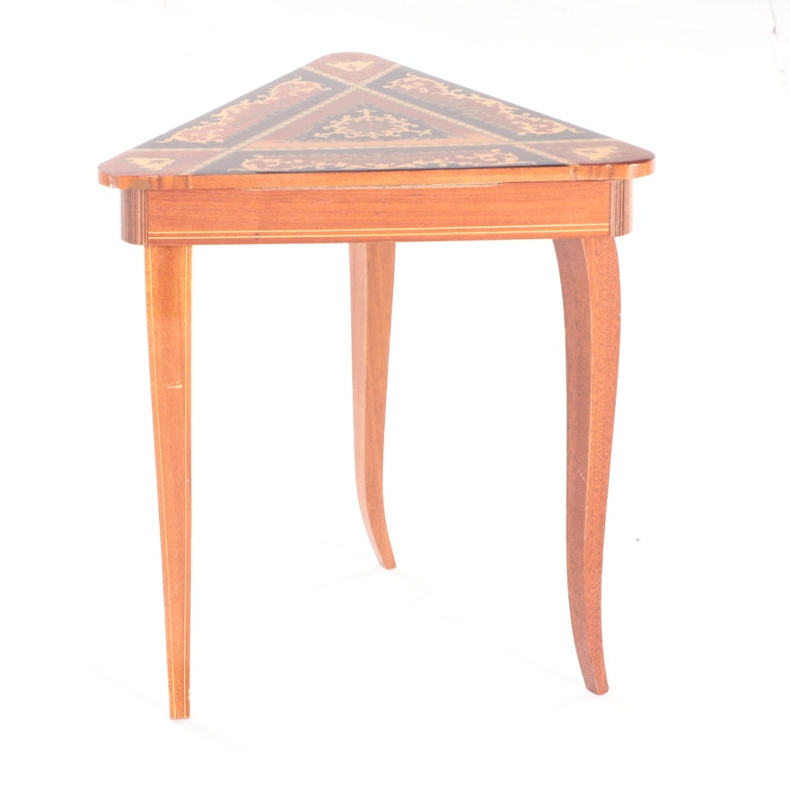 Italian Marquetry Triangular Music Box Table, Mid-20th Century