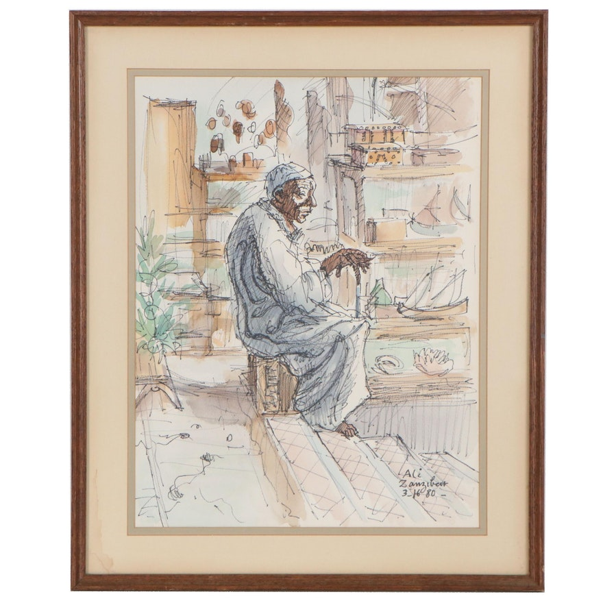 "Figurative Watercolor Painting ""Ali, Zanzibar,"" 1980"