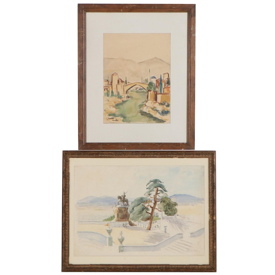 Watercolor Paintings of Cityscapes, Mid-Late 20th Century