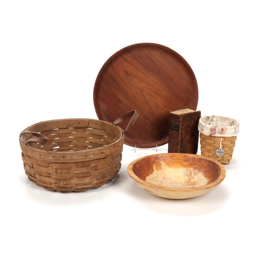 Longaberger Baskets, Swedish Teak Tray, Leather Bound Book of Psalms, and More