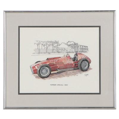 "Foster V. Waltz, Jr. Watercolor Painting ""Ferrari Special - 1952,"" 1997"