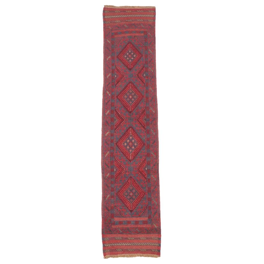 1'9 x 8'9 Hand-Knotted Afghan Turkmen Mixed Technique Carpet Runner