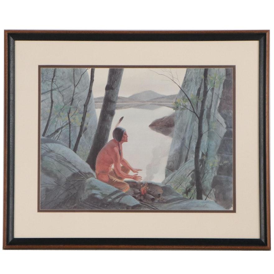 "John Ruthven Offset Lithograph ""Chippewa Brave,"" 1978"