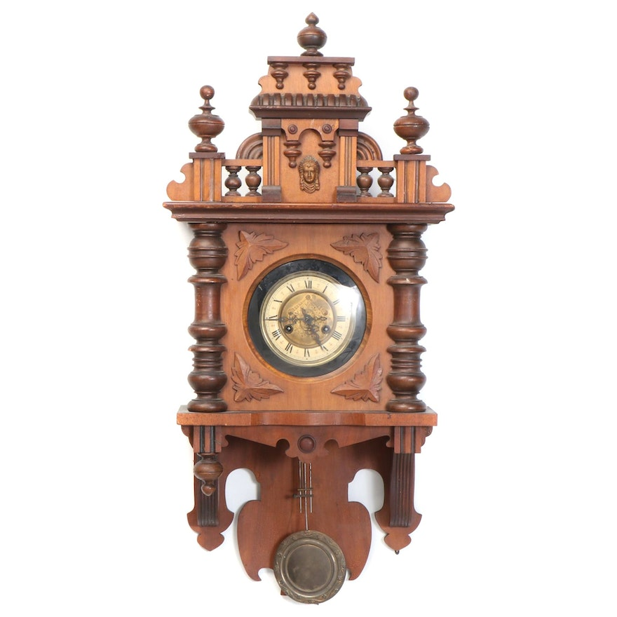 Austrian Style Mixed Wood Carved Cased Wall Clock, Late 19th/ Early 20th Century