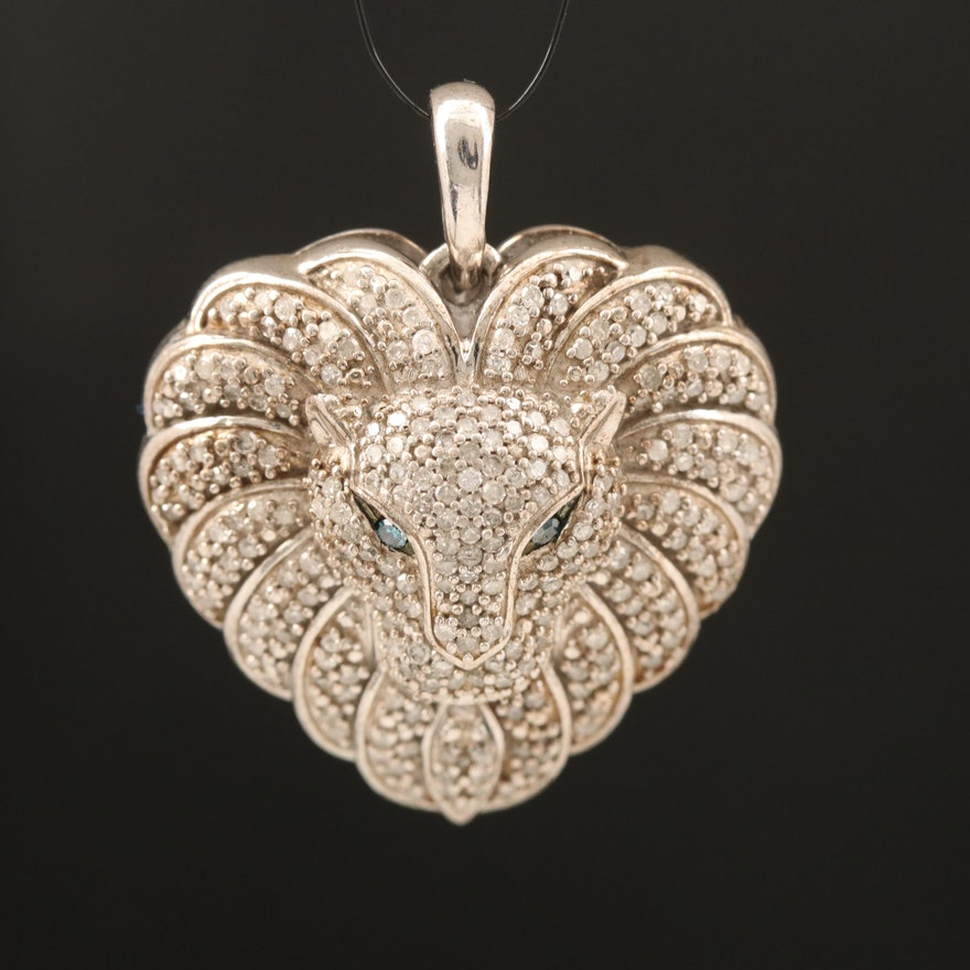 Sterling Diamond Lion Head Pendant