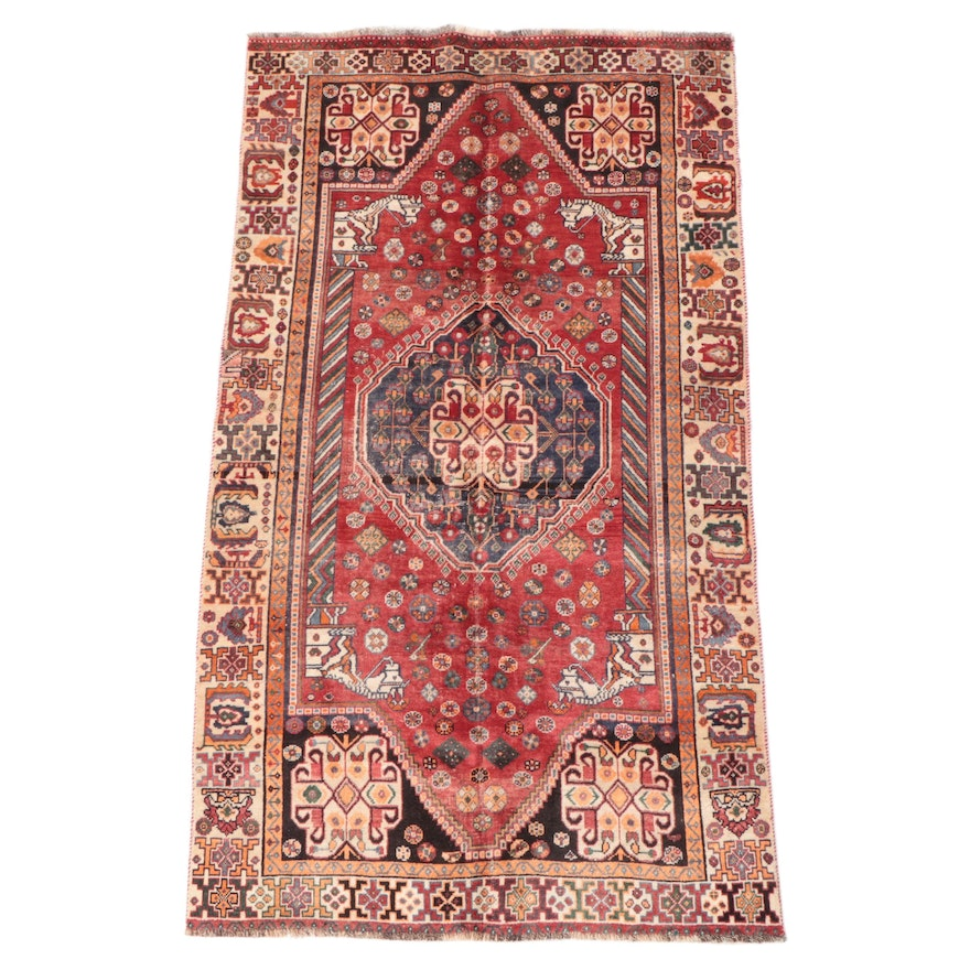 4'8 x 8'4 Hand-Knotted Persian Qashqai Area Rug