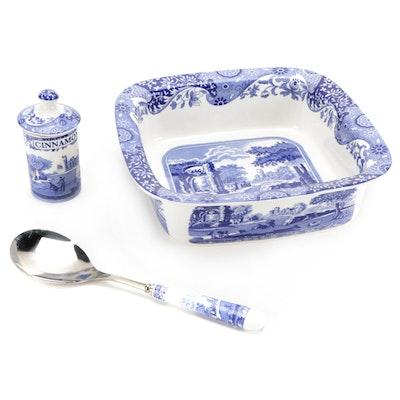 "Spode ""Blue Italian"" Ceramic Square Baker, Serving Spoon, and Cinnamon Jar"
