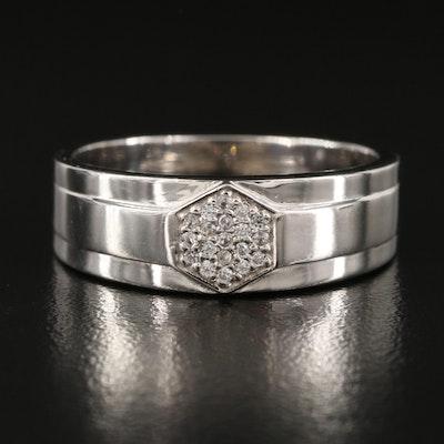 Sterling Silver Hexagonal White Zircon Cluster Band