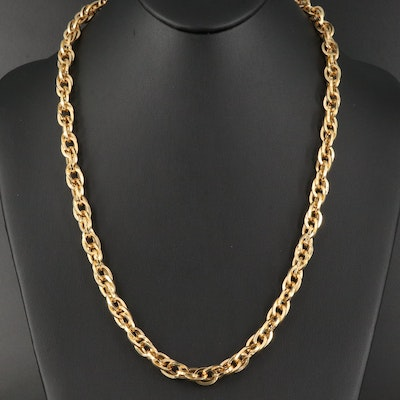 Italian 14K Double Cable Link Necklace